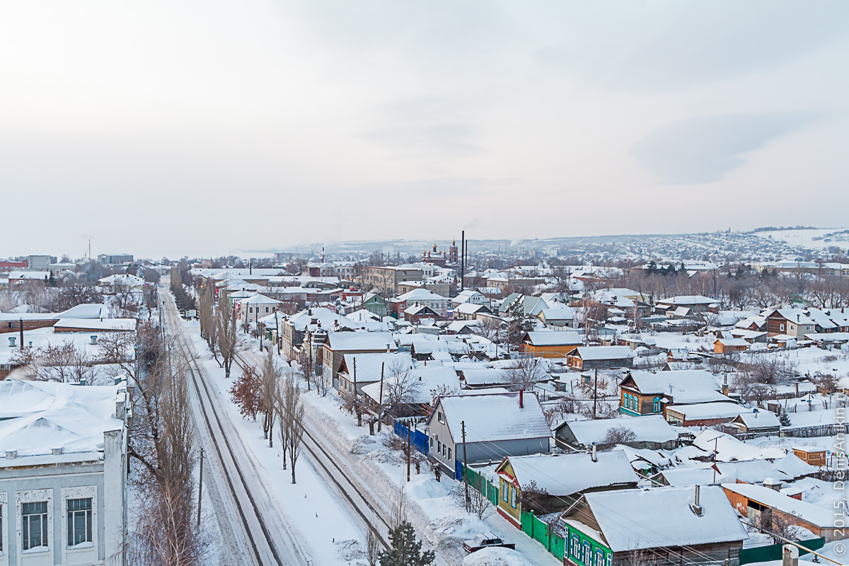 Хвалынск зимой с высоты 8