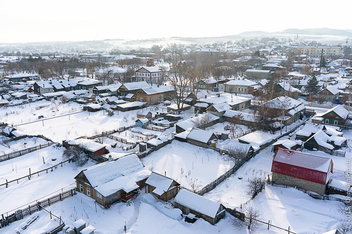 Хвалынск зимой с высоты 30