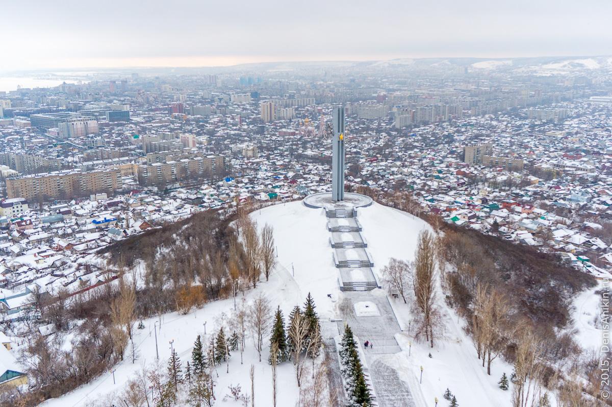 Парк Победы Саратов аллея воинской славы аэросъемка